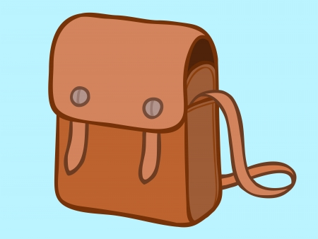 sling: Cartoon illustration of a womans stylish brown leather sling bag with a shoulder strap isolated on a blue background