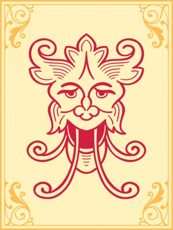 Calligraphic ornament design element of a stylised mythical creature with curled horns, ears and a face inside a filigree frame on a pale