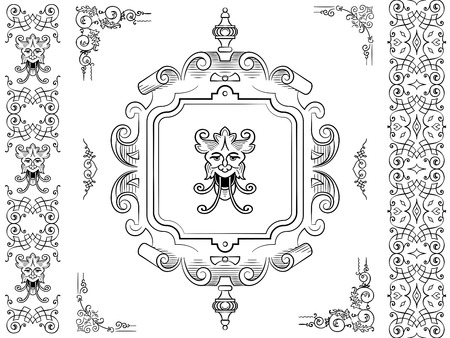 Collection of design elements in floral and foliate filigree antique style with mythical horned creature photo