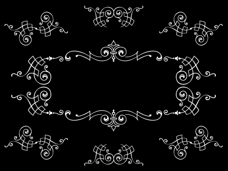 Intricate calligraphic floral frame design elements white on black photo