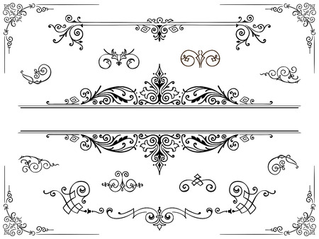 curlicue: Symmetrical intricate decorative filigree ornament design element with flowers and trailing vines in classical antique style Stock Photo