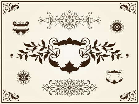 Collection of elegant vintage style intricate filigree ornament design elements with floral and foliate decoration photo