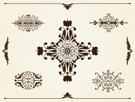 curlicue: Ornament design elements with a collection of elegant intricate filigree frames, borders, corners and cartouches in classical vintage style