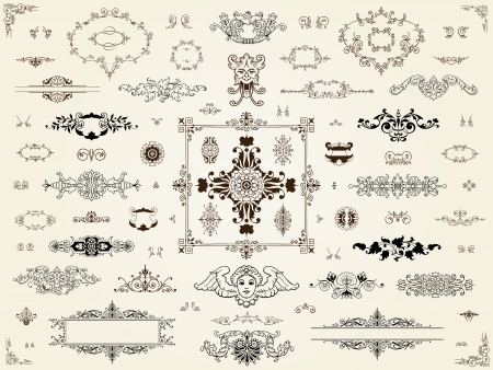 Ornament design elements with a collection of elegant intricate filigree frames, borders, corners and cartouches in classical vintage style photo