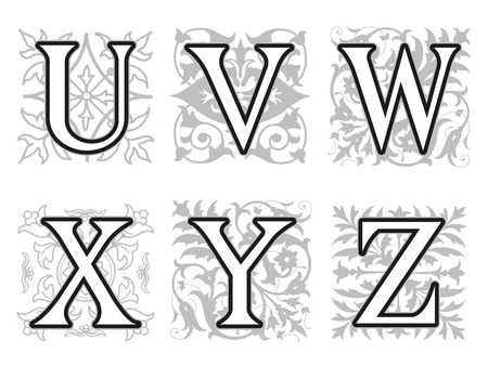 v alphabet: Decorative U, V, W, X, Y, Z alphabet letters with vintage floral elements in different designs in a square format behind each uppercase letter in black and white with silhouette detail