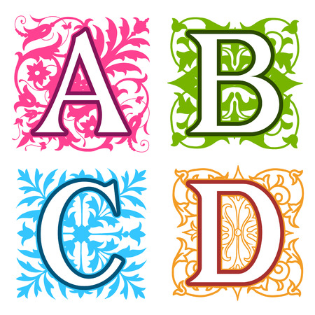 uppercase: Decorative A, B, C, D, alphabet letters with vintage floral elements in different designs in a square format behind each uppercase colorful letter with silhouette detail