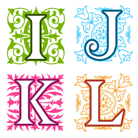 letter i: Decorative I, J, K, L, alphabet letters with vintage floral elements in different designs in a square format behind each uppercase colorful letter with silhouette detail Stock Photo