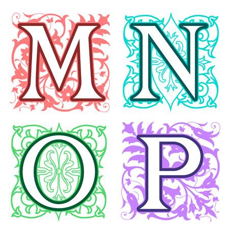 vintage: Decoratieve M, N, O, P, letters van het alfabet met vintage florale elementen in verschillende designs in een vierkant formaat achter elkaar hoofdletters kleurrijke brief met silhouet detail