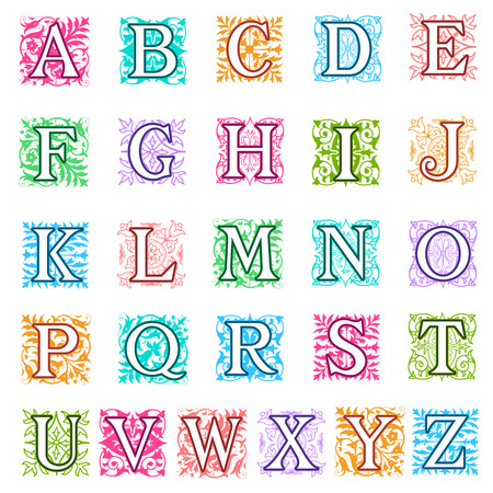 complete: Colourful vector illustration of a complete set of alphabet letters in uppercase with square format foliate and floral decoration behind each capital letter in different colours and designs Stock Photo
