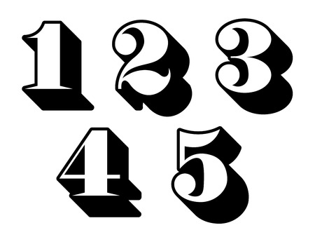 numbers counting: Black and white three-dimensional numbers or digits 1, 2, 3, 4, 5 in a decorative font, vector illustration isolated on white