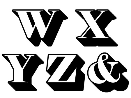 def: Alphabet letters serif in three-dimensional uppercase with the letters W, X, Y, Z, ampersand represented, typographical vector illustration