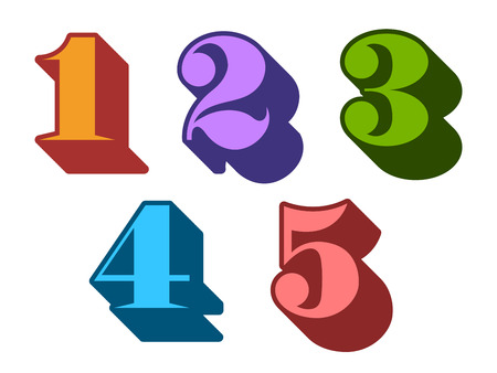 3 4: Colourful cyphers numbers serif in three-dimensional uppercase with 1, 2, 3, 4, 5 represented, typographical vector illustration