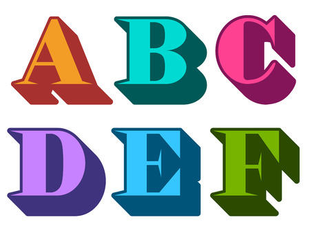 def: Colourful alphabet letters serif in three-dimensional uppercase with the letters A, B, C, D, E, F represented, typographical vector illustration
