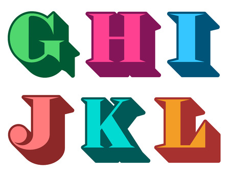 serif: Colourful alphabet letters serif in three-dimensional uppercase with the letters G, H, I, J, K, L represented, typographical vector illustration