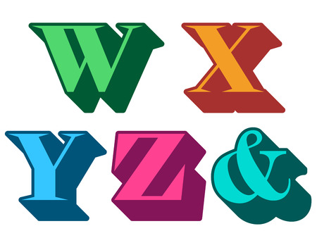 Colourful alphabet letters serif in three-dimensional uppercase with the letters W, X, Y, Z, ampersand represented, typographical vector illustration illustration