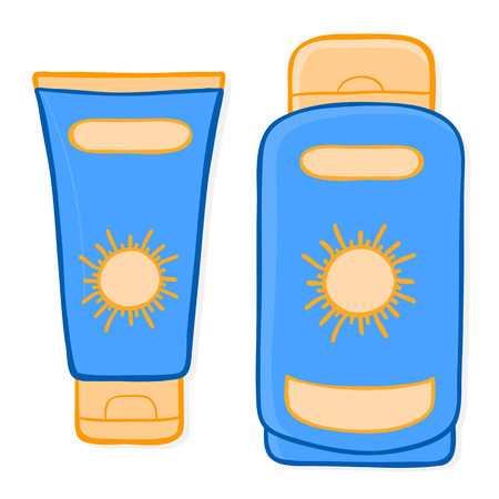 suntan: Packaging for sun cream and suntan lotion in the form of a plastic tube and bottle with a sun motif on the front for skin protection against harmful UV rays, doodle illustration isolated on white