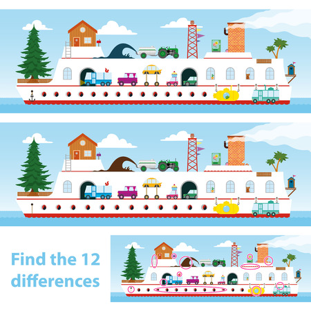 find answers: Two vector versions of a kids puzzle of a colourful ship for them to spot the 12 differences between the illustrations Stock Photo