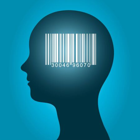 barcode: Conceptual vector illustration of a consumer barcode for pricing inventorty and organisation of data in a database glowing inside the silhouette of a female head on a blue background