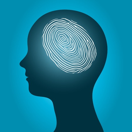illustrate: Woman head with an enclosed fingerprint Stock Photo