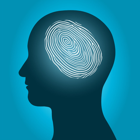 Conceptual vector illustration of the silhouette of a male head with an enclosed glowing fingerprint or thumbprint denoting unique individual identification and security on a blue background illustration