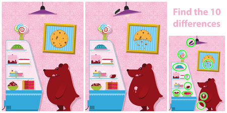 spot the difference: Childrens educational spot the difference puzzle of a bear with two versions of a vector illustration with 10 differences showing a bear standing buying cakes from a bakery display