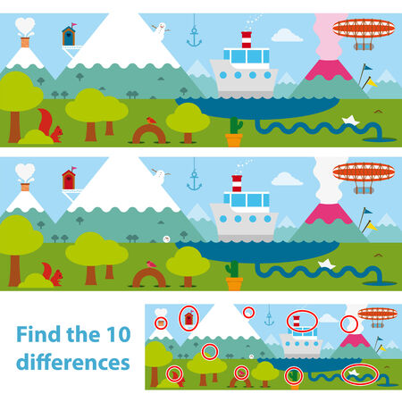 Two versions of a vector illustration of a lake with a boat, snow-capped mountains , an erupting volcano and a blimp in a kids puzzle to spot the 10 differences between the two, with a solution below illustration