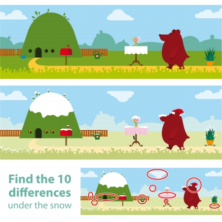 garden path: Two versions of a vector illustration with 10 differences to be spotted in a kids puzzle with a little brown bear walking home along a garden path with the answer below Stock Photo