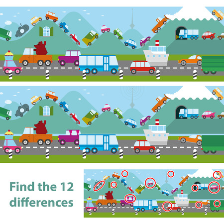 Two versions of a vector illustration of cars and traffic in a traffic jam on a road and lining the hilltops in an educational kids puzzle where they must spot 12 differences, with a solution below Stockfoto