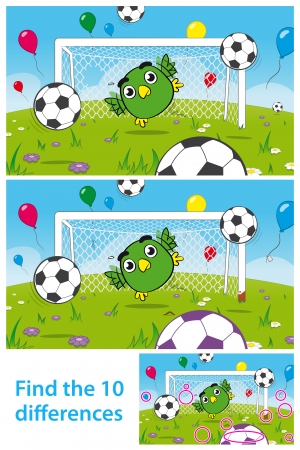 Two versions of vector illustrations with 10 differences to be spotted in a brainteaser for children in a kids puzzle with a cute bird goalkeeper playing soccer with soccerballs and balloons Stockfoto