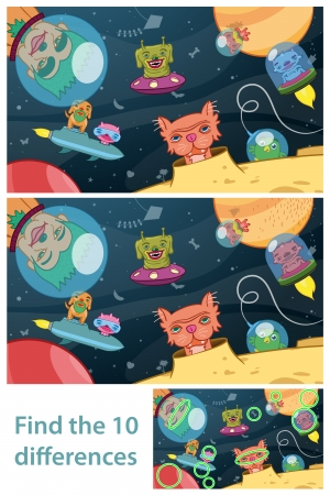 find answers: Two different versions of vector illustrations of an extraterrestrial space scene with aliens and space ships for kids to find the 10 differences in the puzzle between the two