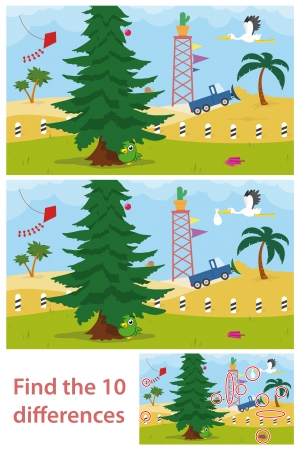 Kids puzzle of a desert tree with two versions of the vector illustration for children to spot the 10 differences illustration