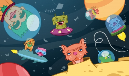 Colourful cartoon vector illustration of a kids background with space craft and extraterrestrial aliens zooming around a dark blue sky illustration