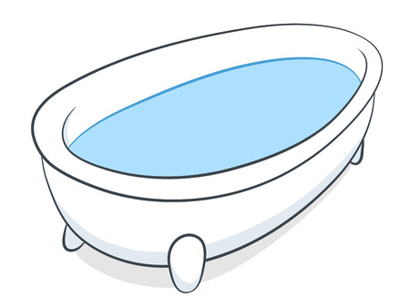 Vector illustration of a freestanding white bathtub on little feet full of clean fresh inviting blue water on a white background