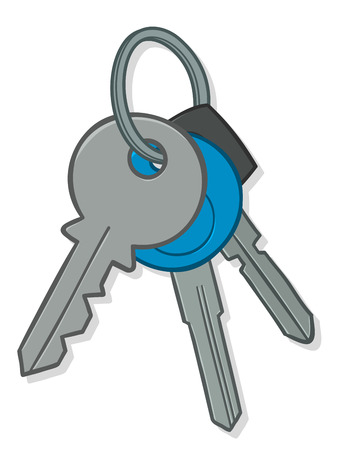 keyring: Illustration of a bunch of silver metal house and car keys on a keyring with a blue circular tag, isolated on white Stock Photo