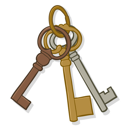 keyring: Illustration of a bunch of three different old simple brass metal keys on a keyring isolated on white