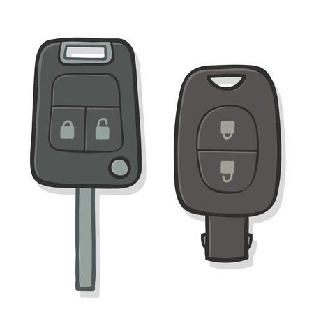 ignition: Vector illustration of two different car keys with integrated remote control and alarm for locking and unlocking the vehicle at a distance and ignition to start the engine