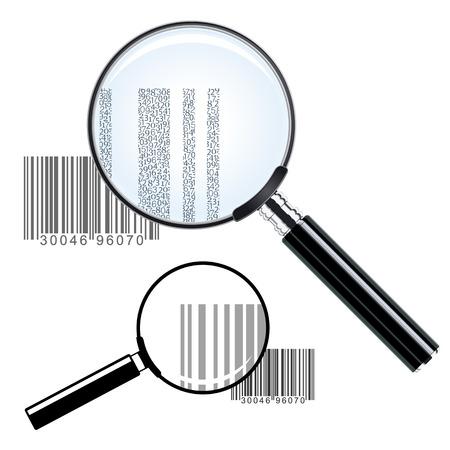 inventario: Ilustración de dos lupas de diferentes tamaños sobre los códigos de barras que aumenten la impresión que muestra la identificación del inventario comercial y datos de precios - conceptual de la investigación o de investigación