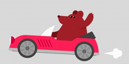 jaunty: Cartoon illustration of a cute brown bear driving a red sports car at speed waving with his paw as he passes with a puff of smoke front the exhaust Stock Photo