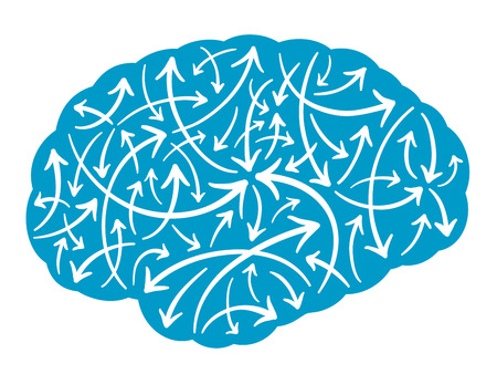 Vector illustration of the silhouette of a human brain filled with multidirectional arrows pointing haphazardly in random directions depicting mental activity, energy and intelligence Stockfoto