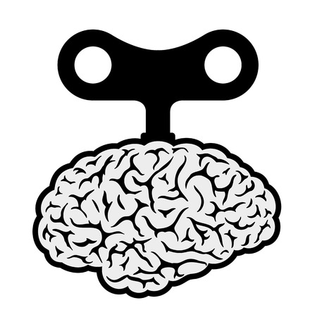 power: Human brain with a wind-up key depicting control, automation, robotic and mechanical showing a lack of freedom and choice