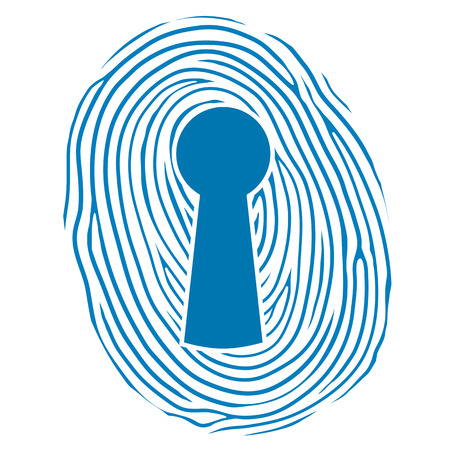 authorisation: Vector illustration of a human thumbprint or fingerprint superimposed over a keyhole lock conceptual of safety, security and verification of a personal identity to gain access