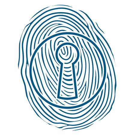 thumbprint: Vector illustration of a human thumbprint or fingerprint superimposed over a keyhole lock conceptual of safety, security and verification of a personal identity to gain access