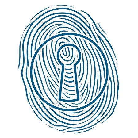 odcisk kciuka: Vector ilustracji z ludzkiego odcisk palca lub odcisk palca, nałożony przez dziurkę od klucza zablokować koncepcyjne z bezpieczeństwa, ochrony i kontroli osobistej tożsamości w celu uzyskania dostępu Zdjęcie Seryjne