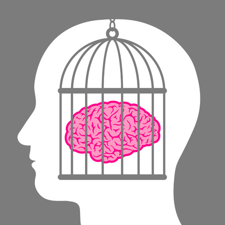 Conceptual illustration of a caged brain with a male head depicting a lack of freedom of thought and a man who is a captive and no longer free to innovate or create but is controlled