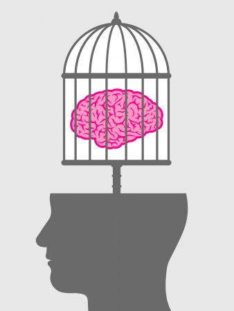 free thought: Conceptual illustration of a caged brain with a male head depicting a lack of freedom of thought and a man who is a captive and no longer free to innovate or create but is controlled
