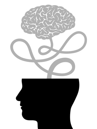 free the brain: Conceptual vector illustration depicting human intelligence with the silhouette of a mans head with the top of the cranium removed and the brain floating free on a cord - innovation and creativity