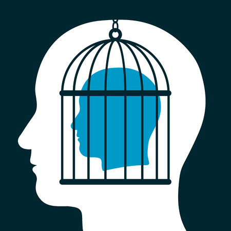 emanating: Conceptual illustration of a caged head emanating from a silhouetted head below showing a captive with lack of freedom of speech, mind, expression, personality and ideas