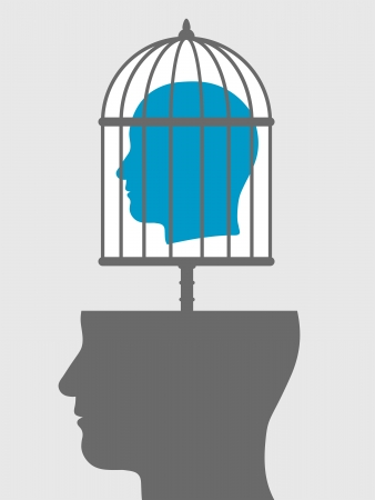 Conceptual illustration of a caged head emanating from a silhouetted head below showing a captive with lack of freedom of speech, expression, personality and ideas
