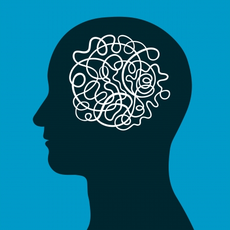 sensory perception: Male head with a convoluted entangled brain of a continuous intertwined cord depicting the complexity of human intelligence, thought and creativity, conceptual vector illustration