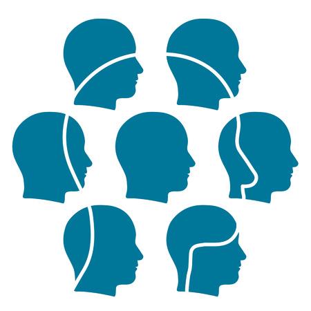연결된 친구 또는 비즈니스 또는 전체를 네트워킹 사회를위한 접촉의 팀을 형성하는 작은 머리의 그룹과 겹쳐 머리의 개요는 부분의 합보다 더